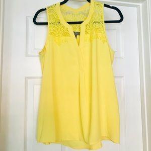 Market & Spruce Yellow Lace Blouse